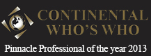 Continental Whos Who Pinnacle Professional of the year 2013 award